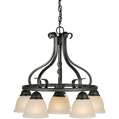 Aurora® 6 Light Chandelier W/Rustic Umber Glass Shade, Bordeaux