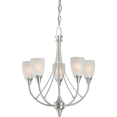 Aurora® 22in. x 18in. 60 W 5 Light Chandelier W/White Linen Glass Shade, Brushed Nickel