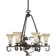 "Aurora® 29"" x 27"" 60 W 6 Light Chandelier W/Umber Mist Glass Shade, Antique Bronze"