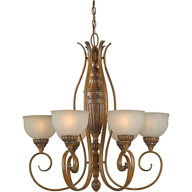 Aurora® 6 Light Chandelier W/Patterned Umber Glass Shade, Rustic Sienna