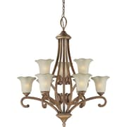 "Aurora® 37"" x 33"" 100 W 9 Light Chandelier W/Umber Glass Shade, Rustic Sienna"