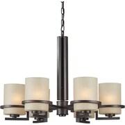 """Aurora® 20"""" x 27 1/2"""" 100 W 6 Light Chandelier W/Umber Linen Glass Shade, Antique Bronze"""