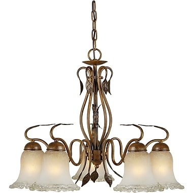 Aurora® 19in. x 24in. 100 W 5 Light Chandelier W/Umber Ice Glass Shade, Rustic Sienna