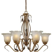 Aurora® 6 Light Chandelier W/Umber Ice Glass Shade, Rustic Sienna