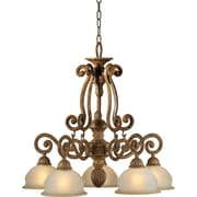 "Aurora® 24"" x 24"" 100 W 5 Light Chandelier W/Umber Glass Shade, Chestnut"