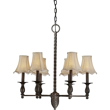 Aurora® 6 Light Chandelier W/Fabric Shade, Antique Bronze