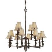 """Aurora® 36"""" x 34"""" 60 W 12 Light Chandelier W/Fabric Shade, Antique Bronze"""