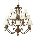 Aurora® 41in. x 40in. 60 W 15 Light Chandelier W/Optional Fabric Shade, Chestnut