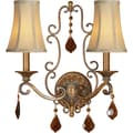 Aurora® 14 3/4in. x 16in. 60 W 2 Light Wall Sconce With Optional Fabric Shade, Rustic Sienna
