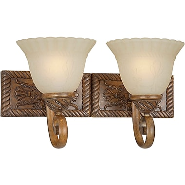 Aurora® 2 Light Bath Vanity With Patterned Umber Mist Glass Shade, Rustic Sienna