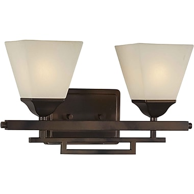 Aurora® 2 Light Bath Vanity With Shaded Umber Glass Shade, Antique Bronze