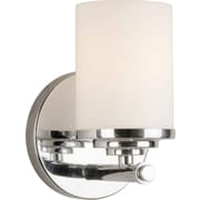 "Aurora® 7"" x 4 3/4"" 100 W 1 Light Bath Vanity With Satin Opal Glass Shade, Chrome"