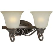 "Aurora® 9"" x 16 1/2"" 100 W 2 Light Bath Vanity With Shaded Umber Glass Shade, Antique Bronze"