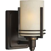 "Aurora® 8 3/4"" x 4 3/4"" 100 W 1 Light Bath Vanity With Umber Linen Glass Shade, Antique Bronze"