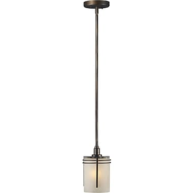 Aurora® 18in.-48in. x 5 3/4in. 100 W 1 Light Mini Pendant W/Umber Linen Glass Shade, Antique Bronze