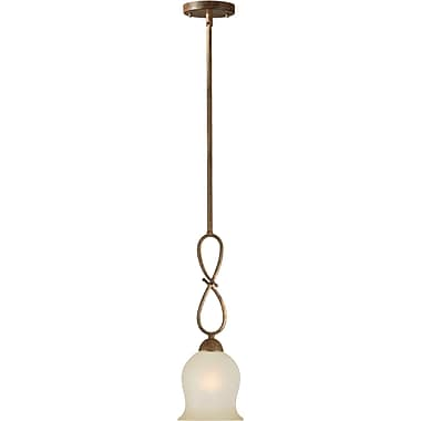 Aurora® 26in.-56in. x 6in. 100 W 1 Light Mini Pendant W/Umber Glass Shade, Chestnut