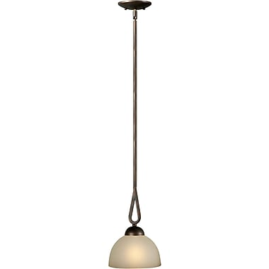 Aurora® 20in. x 20in. x 8in. 100 W 1 Light Mini Pendant W/Umber Glass Shade, Antique Bronze