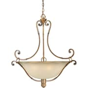 "Aurora® 34 1/2"" x 29 1/2"" 100 W 6 Light Bowl Pendant W/Umber Glass Shade, Rustic Sienna"