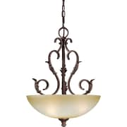 "Aurora® 23 1/2"" x 17 1/2"" 100 W 3 Light Bowl Pendant W/Umber Mist Glass Shade, Black Cherry"