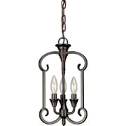 "Aurora® 15 1/2"" x 9"" 60 W 3 Light Foyer Pendant Antique Bronze"