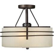 "Aurora® 13"" x 16"" 100 W 3 Light Semi-Flush Mount W/Umber Linen Glass Shade, Antique Bronze"