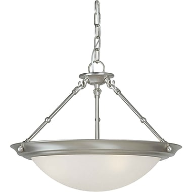 Aurora® 13in. x 18in. 100 W 3 Light Semi-Flush Mount W/White Linen Glass Shade, Brushed Nickel