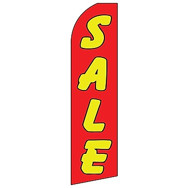 Swooper Message Banner Kit With Pole & Ground Spike, Sale, Red & Yellow