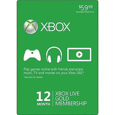 Microsoft® 52M-00158 12 Month Gold Subscription Card For Xbox 360 Live