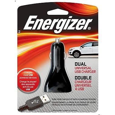Energizer® 7.5 W Dual USB Universal Car Charger, Black