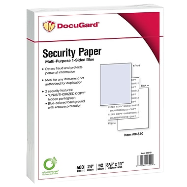 DocuGard® 24 lbs. Standard 2 Features Multi-Purpose Security Paper, 8 1/2in. x 11in., Blue, 2500 Sheets