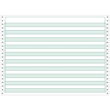 Printworks® Professional 4 Part Computer Paper W/1/2in. Green Bar, 14 7/8in. x 11in., White, 800 Sheets