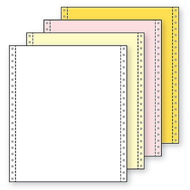 Printworks® Professional 4 Part Blank Computer Paper, 9 1/2in. x 11in., White/Canary, 800 Sheets