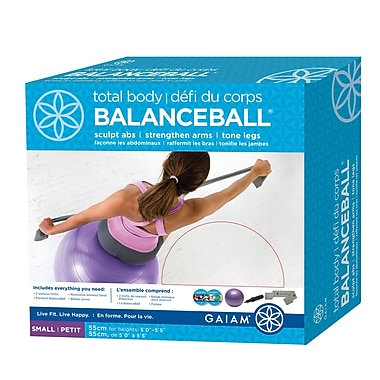 Gaiam® 55cm Small Total Body BalanceBall Kit with DVD, Purple
