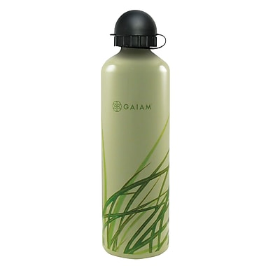 Gaiam® Aluminum Water Bottle with Cap Style 2, 750mL, Grass