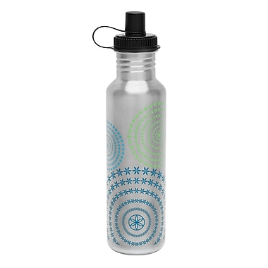 Gaiam® Stainless Steel Water Bottle with Cap Style 1, 750mL, Spirals