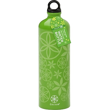 Gaiam® Aluminum Water Bottle with Cap Style 1, 750mL, Flower Power Spring Grass
