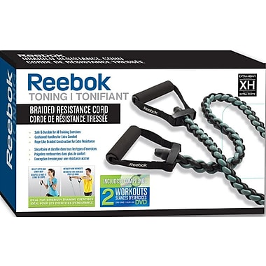 Reebok Braided Resistance Cord Kit with DVD, Extra Heavy