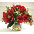 Jane Seymour Botanicals Holiday Mixed Centerpiece in Flared Glass Vase