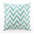 D.L. Rhein Zig Zag Down Filled Embroidered Linen Pillow; Turquoise