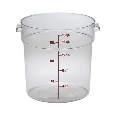 Cambro RFSCW18, 18 qt Polycarbonate Food Storage Container - Camwear Round 444164