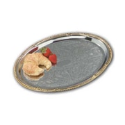 Carlisle 17-3/4'' Celebration Oval Tray with Gold Border