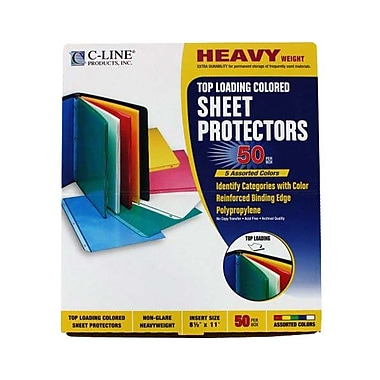 C-Line® Coloured Polypropylene Sheet Protectors, Assorted, 50/Box