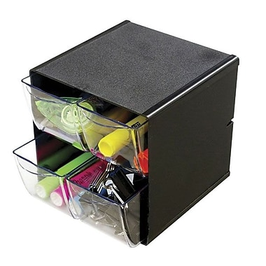 Deflecto® 4-Drawer Stackable Cube Organizer, Black