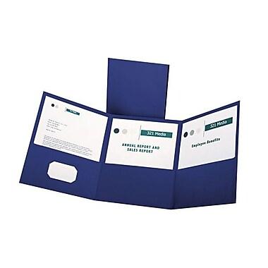 OxfordMD – Chemises de format lettre à trois pochettes pliables, bleu, 20/paquet
