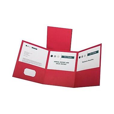 Oxford® Letter-Size 3-Pocket Tri-Fold Pocket Folders, 20/Pack, Red
