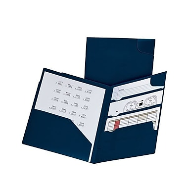 Oxford® Letter-Size Divide It Up 4-Pocket Polypropylene Folders, 25/Pack, Navy