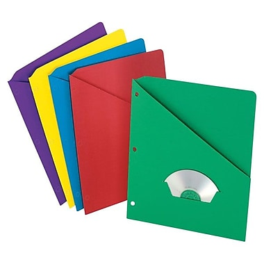 Pendaflex® Essentials™ Letter Slash Pocket Project Folders, Assorted, 25/Box