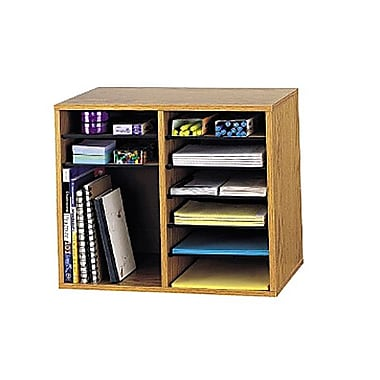 Safco® 9420 Wood Vertical Adjustable Literature Organizer, 12 Compartments, Medium Oak