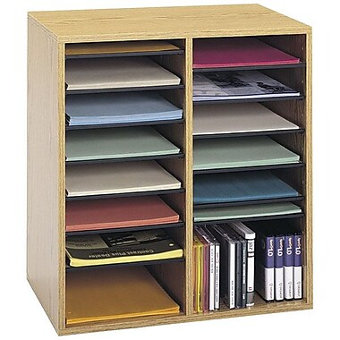 Safco® 16-Compartment Adjustable Literature Organizer, Medium Oak
