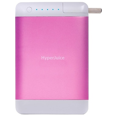 HyperJuice  15600 mAh Plug Dual USB External Battery/Charger, Sugar Pink